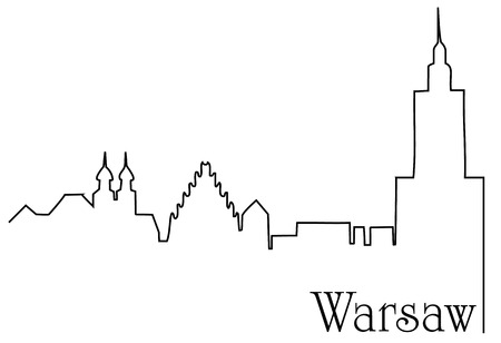Warsaw city one line drawing background Иллюстрация