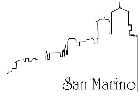 San Marino city one line drawing background