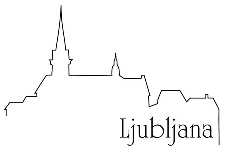 Ljubljana city one line drawing background