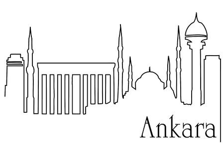 .Ankara city one line drawing illustration.