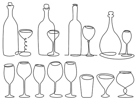 champagne celebration: Wine glass one line drawing