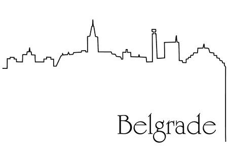 Belgrade city one line drawing background Illustration
