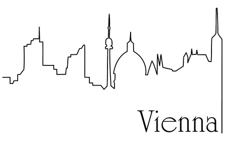 Vienna city one line drawing background