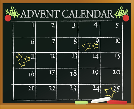 Christmas blackboard background with Advent calendar