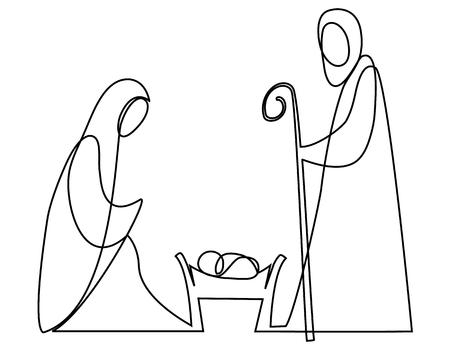 Scena Bożego Narodzenia z rodziną Świętej Rodziny jeden rysunek linii