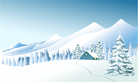 Winter country landscape with Christmas trees