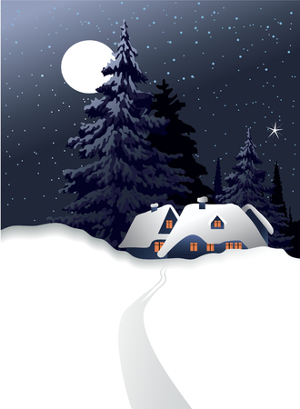 christmas backgrounds: Winter country landscape with Christmas trees