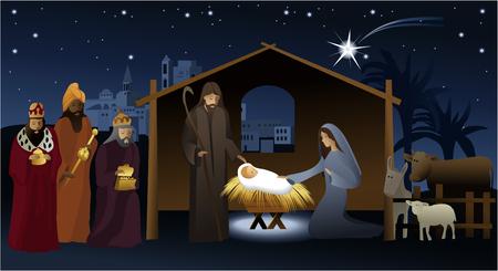 Kerststal met heilige familie Stock Illustratie