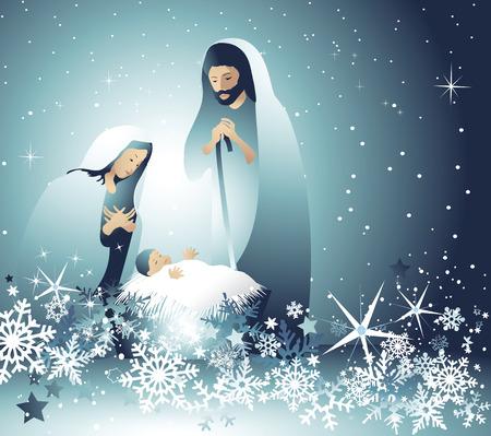 Nativity scene with Holy Family Stock Illustratie
