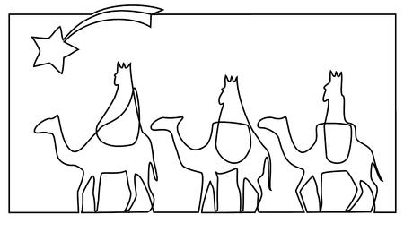 Drie wijze mannen brengen geschenken aan Jezus Stock Illustratie