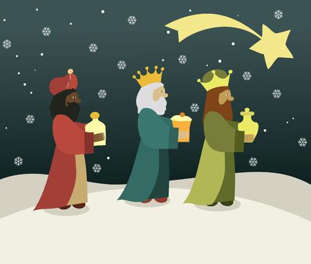 Drie wijze mannen brengen geschenken aan Jezus