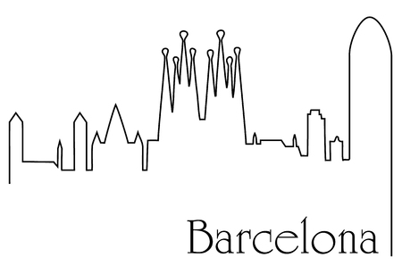 Barcelona city one line drawing background, vector illustration.