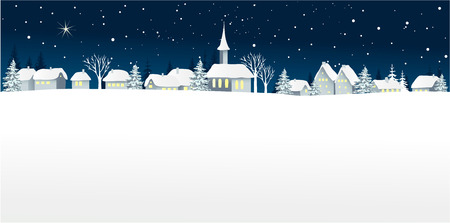 Christmas landscape with small village Ilustrace