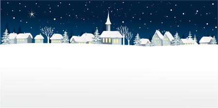 Christmas landscape with small village Ilustração