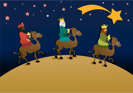 Three wise men bring presents to Jesus. Three Wise Men, the Three Kings, Melchior, Gaspard and Balthazar