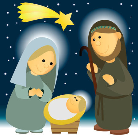 Nativity scene with Holy Family  イラスト・ベクター素材