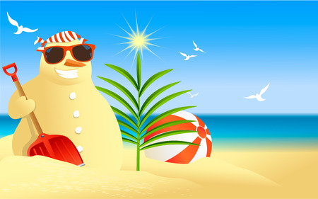 Tropical Christmas background with snowman Ilustração