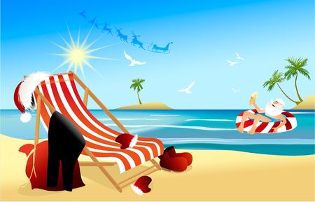 Tropical Christmas background with relaxing Santa Claus