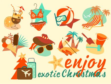 Enjoy exotic Christmas icon set