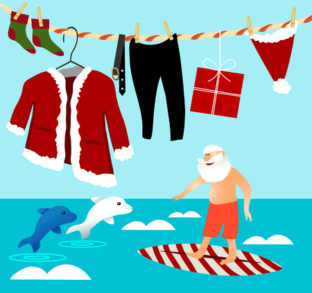 Christmas surfing with Santa Claus