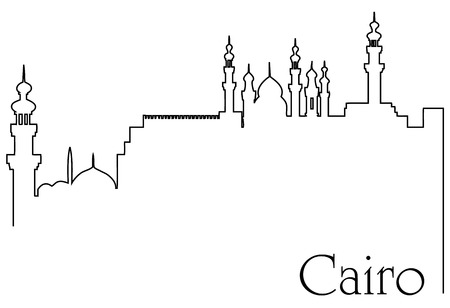 Cairo city one line drawing abstract background with metropolis cityscape
