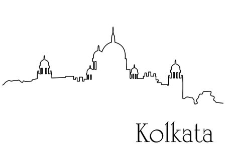 Kolkata city one line drawing background Stock Vector - 92948801