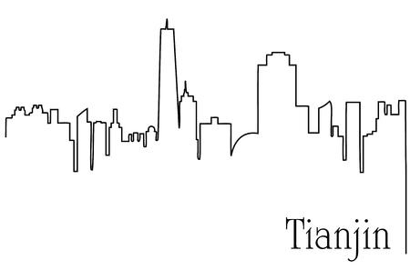 Tianjin city one line drawing background Çizim