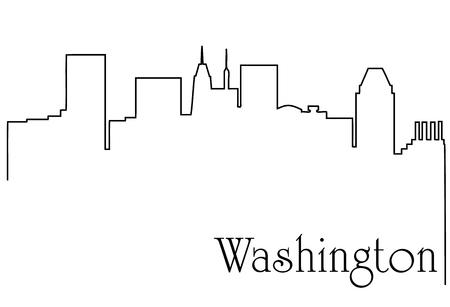 Washington city one line drawing background