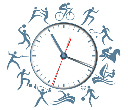 Sport clock with abstract silhouettes of active people Illustration