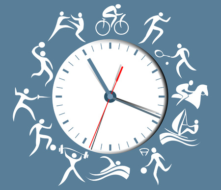 Sport clock with abstract silhouettes of active people