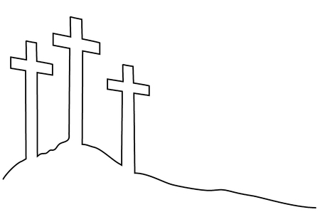 Easter cross one line drawing 일러스트