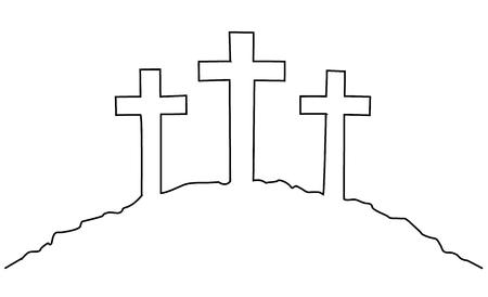 Pasen kruist een lijntekening