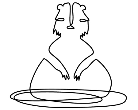 Abstract marmot one line drawing