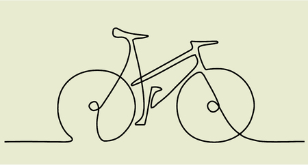 Abstract one line drawing with bike