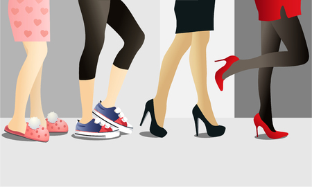 Fashion background with woman legs in shoes Ilustrace