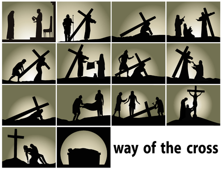 Abstract religious background with Way of the Cross stations 版權商用圖片 - 95892882