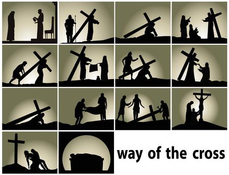 Streszczenie tło religijne ze stacjami Drogi Krzyżowej Ilustracje wektorowe