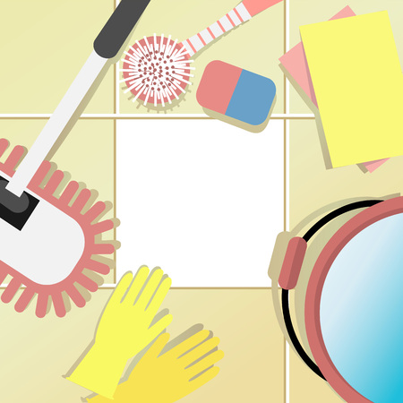 Housecleaning concept with cleaning set illustration.