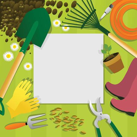 Gardening background with garden tools.