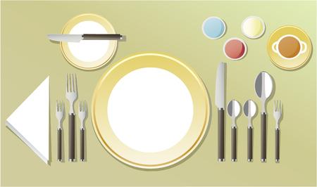 Elegant table setting illustration on light background. Illustration