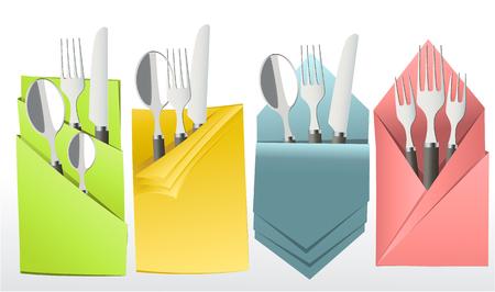 Elegant cutlery in decorative napkin vector illustration.