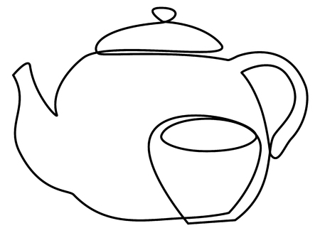 Tea set one line drawing concept Vector illustration. Illusztráció