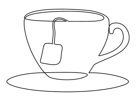 Tea set one line drawing concept Vector illustration. Illustration