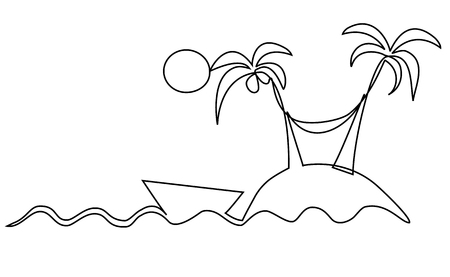 Lonely island one line drawing 일러스트