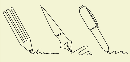 Set of writing accessories one line drawing Illustration