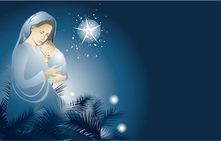 Nativity scene with Holy Family Illustration