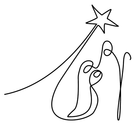 Nativity scene with Holy Family one line drawing Stockfoto - 110080356