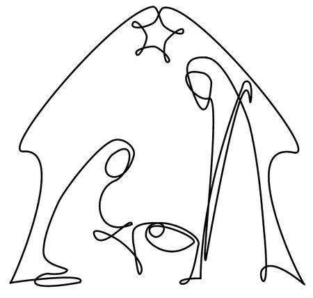 Nativity scene with Holy Family one line drawing Reklamní fotografie - 110080363