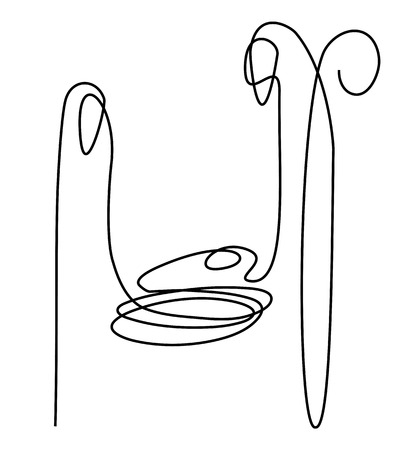 Nativity scene with Holy Family one line drawing