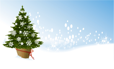 Holiday background with Christmas tree decorated with snowflakes